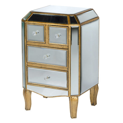 Mirrored Venetian Glass Gold Bedside Chest with 4 Drawers (45 x 35 x 75cm)