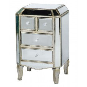 Mirrored Venetian Glass Silver Bedside Chest (4 Drawers, 45 x 35 x 75cm)