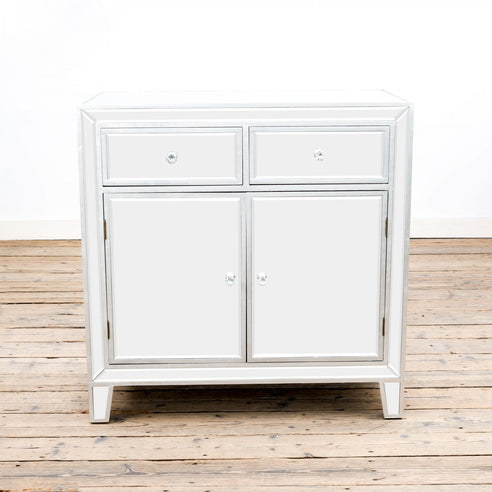 Argenti Silver Leaf Mirrored Small Sideboard (86 x 48 x 86cm)