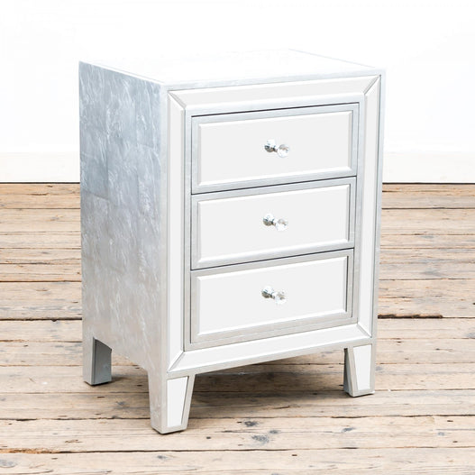 Argenti Silver Leaf Mirrored 3 Drawer Bedside Chest (48 x 35 x 65cm)