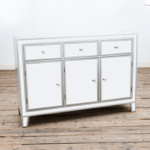 Argenti Silver Leaf White Mirrored Large Sideboard (123 x 40 x 85cm)