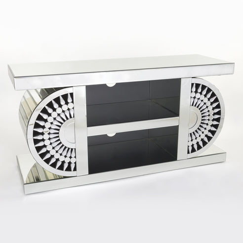 Apollo Crystal Art Deco Venetian Mirrored TV Media Unit (120 x 40 x 50cm)