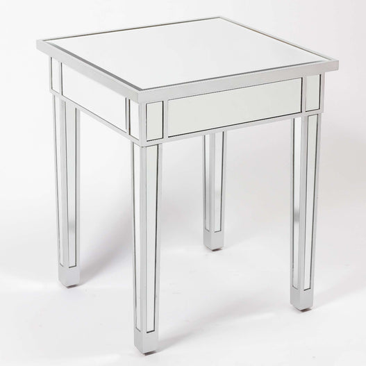 Paris Art Deco Mirrored Silver Small Side Table