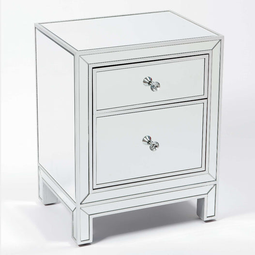 Paris Art Deco Mirrored Silver 2 Drawer Bedside Table