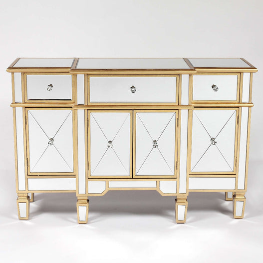 Genevieve Mirrored Gold 3 Drawer Sideboard