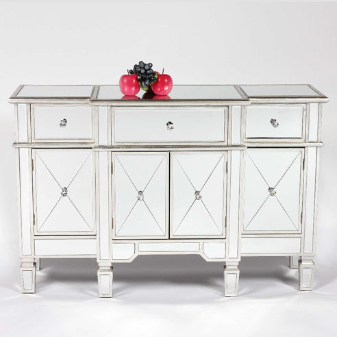 Genevieve Mirrored Silver 3 Drawer Sideboard