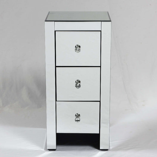 Broadway Art Deco Mirrored Narrow Bedside Chest of Drawers