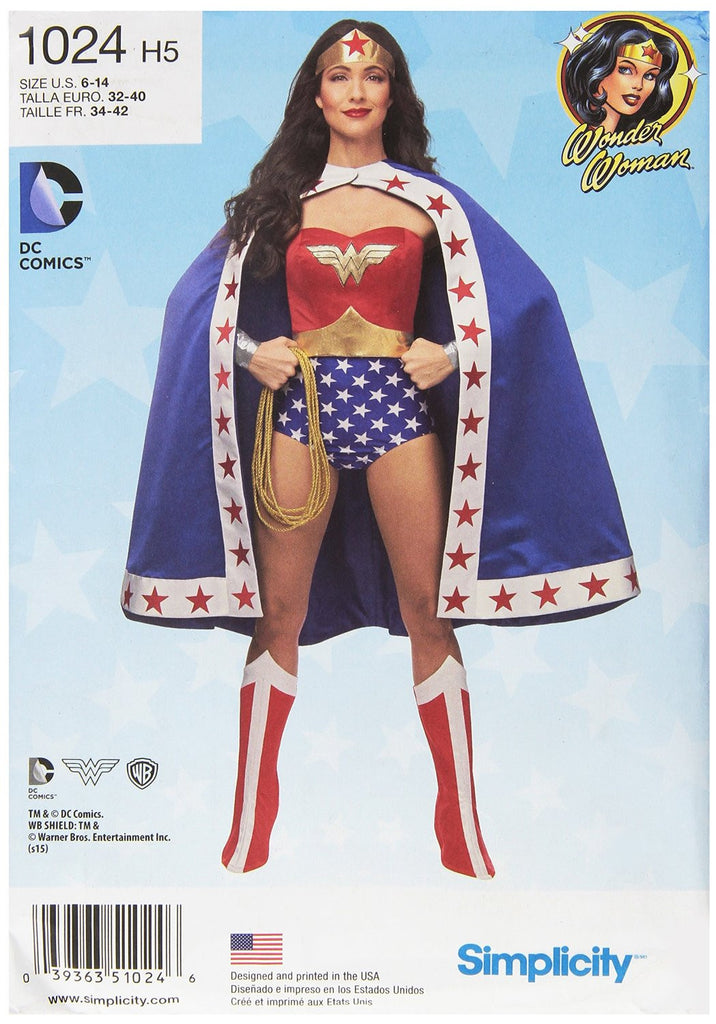 Simplicity Misses' Wonder Woman Costume #1024H5 (6-8-10-12-14)