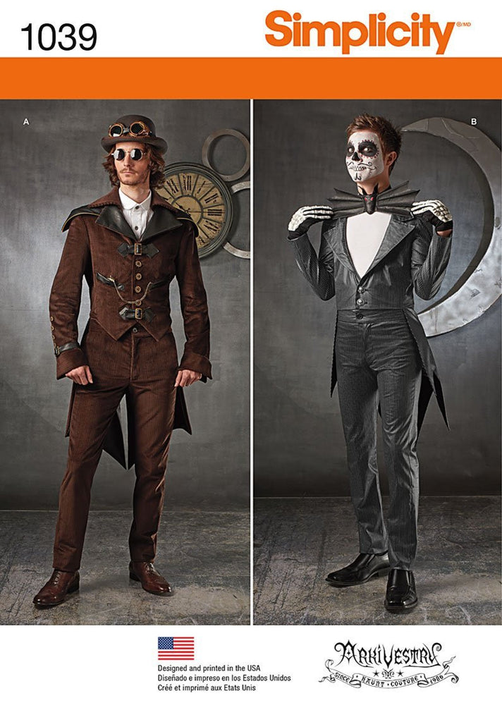 Simplicity Men's Steampunk Costumes #1039AA (XS-S-M)
