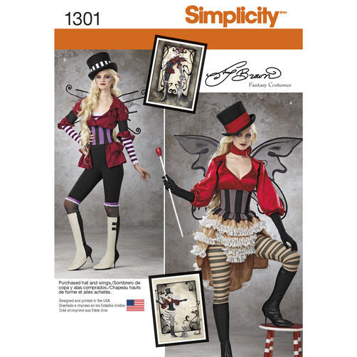 Simplicity 1301 H5 (sizes 6-14) Misses Victorian Circus Costumes
