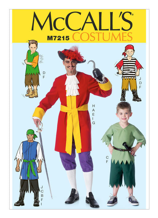 McCalls M7215 Men's Costume (sml-med-lrg-xlg)