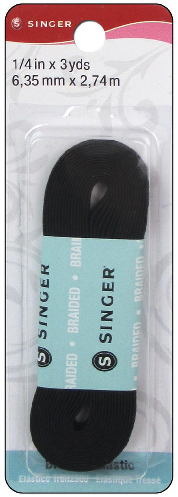 "Singer Braided Elastic 3/4"" x 3yd. Black"