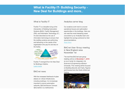 October, 2018 newsletter - Facility IT, Building Security, BACnet News