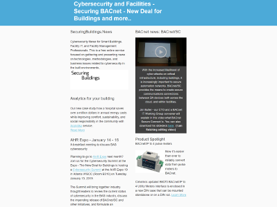 December, 2018 newsletter - Cybersecurity portal, New Deal for Buildings, Securing BACnet