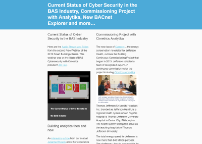 February, 2019 Newsletter - Current Status of Cyber Security in the BAS Industry, Commissioning Project with Analytika, New BACnet Explorer and more…