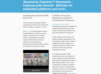 January, 2019 newsletter - Secured by Cimetrics™ framework - Cybersecurity Summit - BACstac for embedded platforms and more…