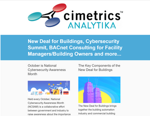 October, 2019 Newsletter - New Deal for Buildings, Cybersecurity Summit, BACnet Consulting for Facility Managers/Building Owners and more..