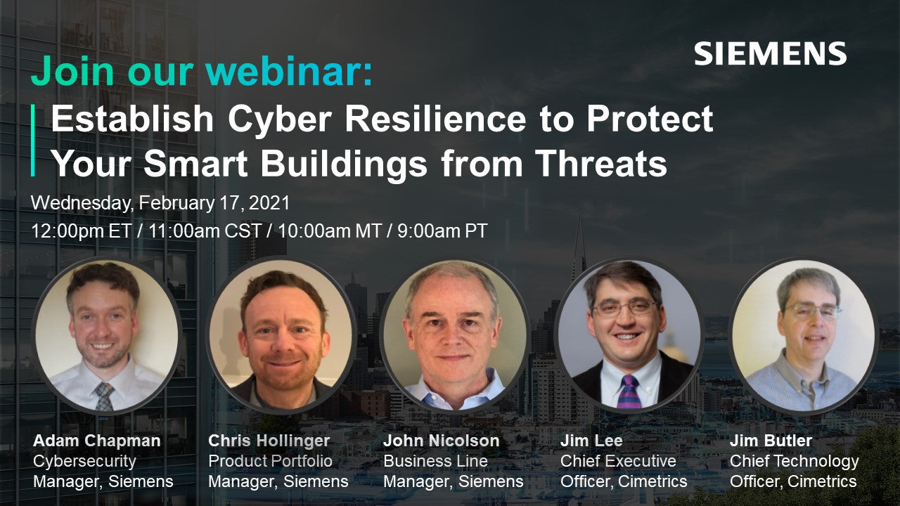 Establish Cyber Resilience to Protect Your Smart Buildings from Threats webinar