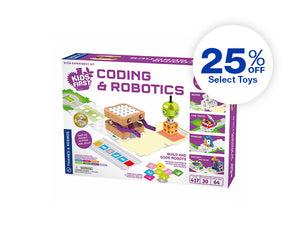 Kids First Coding & Robotics STEM experiment kit on white background. 25 percent off select toys.