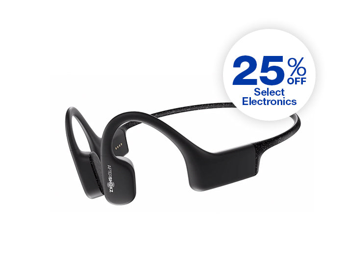Black Aftershockz' Aeropex headphones on white background. 25 percent off select electronics.