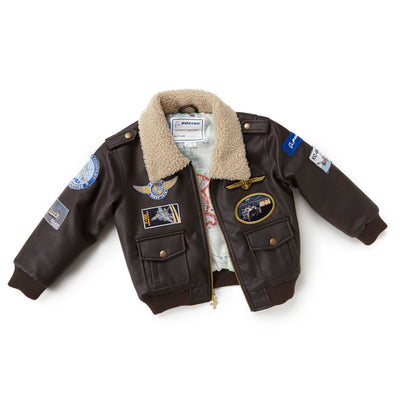 Kids Boeing Brown Aviator Jacket (6408912134)