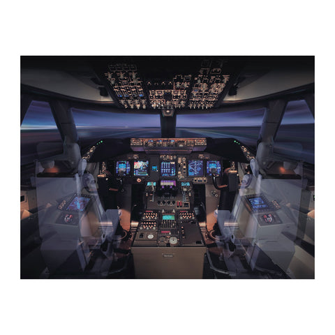 747-8 Invisible Seat Flight Deck Matted Print