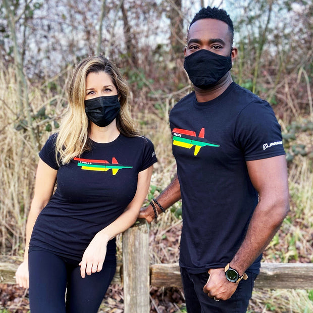 Man and woman wearing black Boeing Stand United T-Shirt