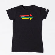 "A flat-lay photograph of the Women's Boeing Stand United T-Shirt. The t-shirt is black, featuring a simple Boeing T-7A Red Hawk design in Pan-African colors screen-printed at the chest. The graphics show an aerial view of the T-7A , which consists of Pan-African flag stripes stacked horizontally and the word ""Boeing"" contained within the black stripe. A white signature Boeing logo is featured at the left shoulder."
