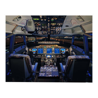 Boeing 737-800 Flight Deck Small Matted Print