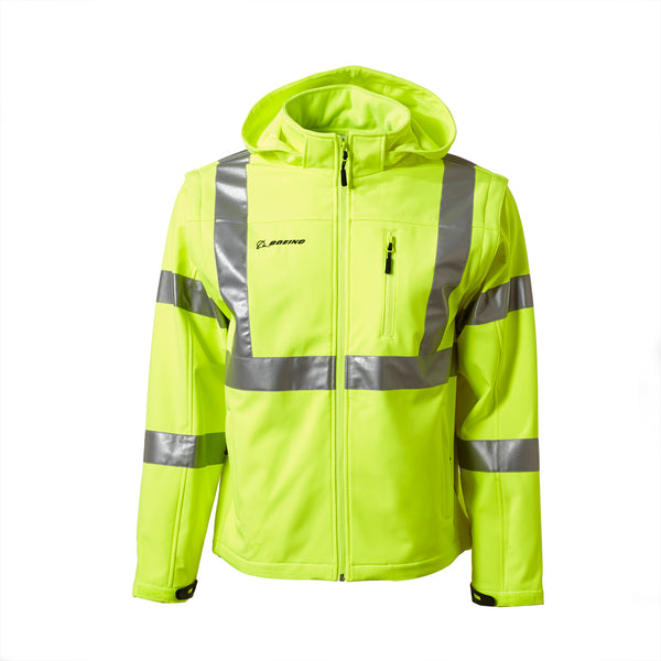 Safety Soft-Shell Convertible Jacket/Vest with Removable Hood