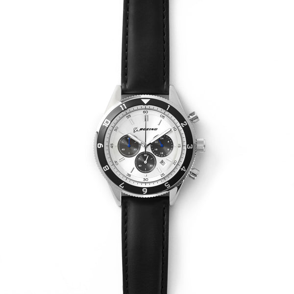 Stainless Steel and Black Three-Eye Chronograph