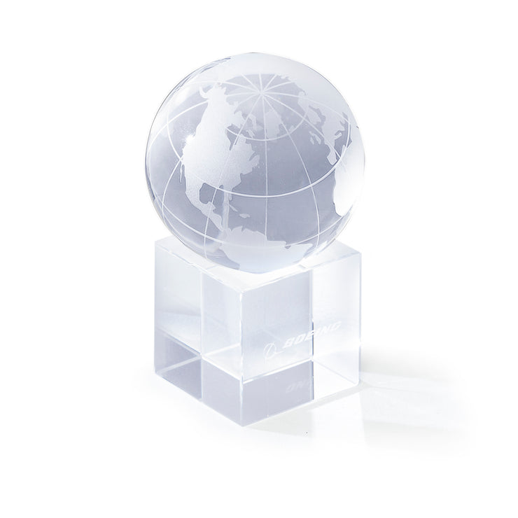 Boeing Crystal Globe Paperweight