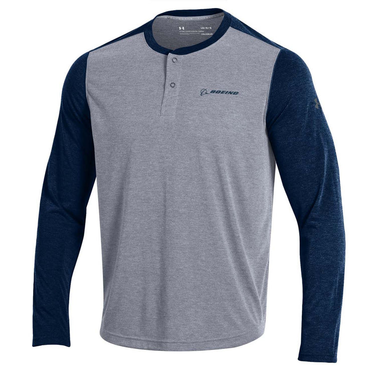 Under Armour Threadborne Long-Sleeved Henley T-Shirt (243078397964)