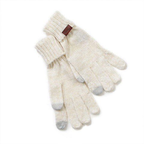Cream and Metallic Gold Knit Gloves