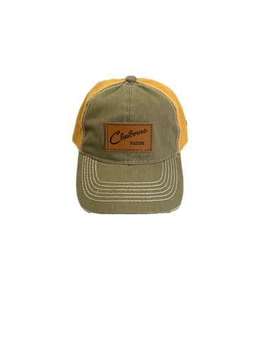 Claiborne Farm Khaki and Gold Leather Patch Hat