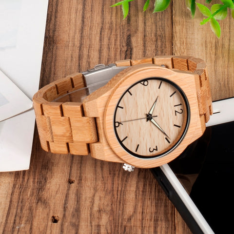 Wooden Bamboo Quartz Watch with Luminous Hands + Free Gift Box