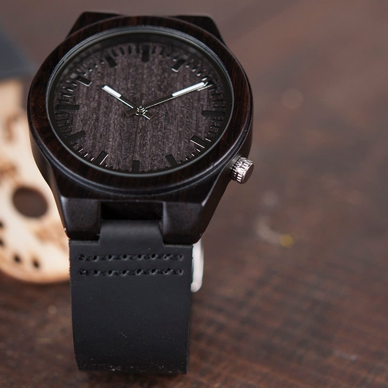 The Everyday Black on Black Bamboo Watch