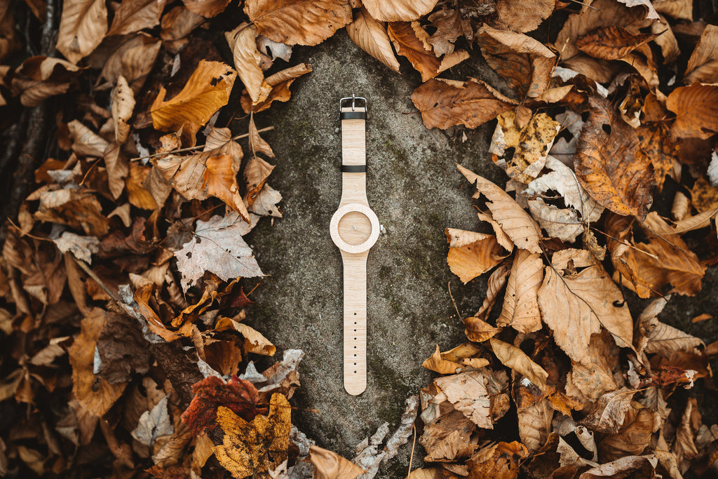 Minimal wooden watch made from genuine silverheart and maple wood inspired by nature