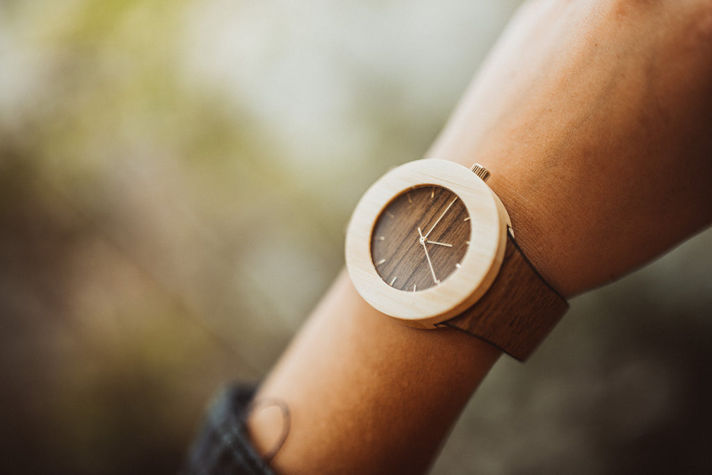 Genuine teak and bamboo wooden watch for the eco conscious consumer