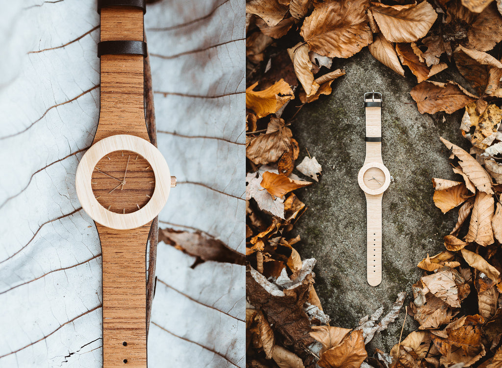 Environmentally conscious and minimal teak and bamboo wooden watch for the earth lover
