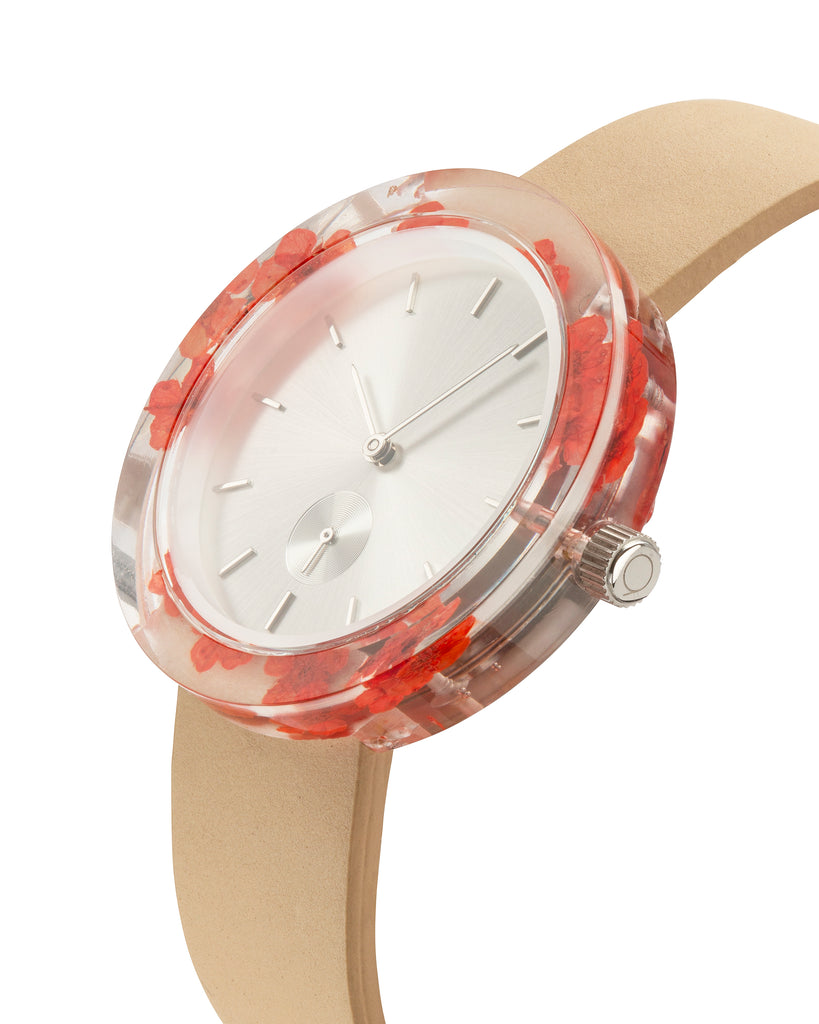 Red Forget-Me-Not Botanist Watch - Analog Watch Co.