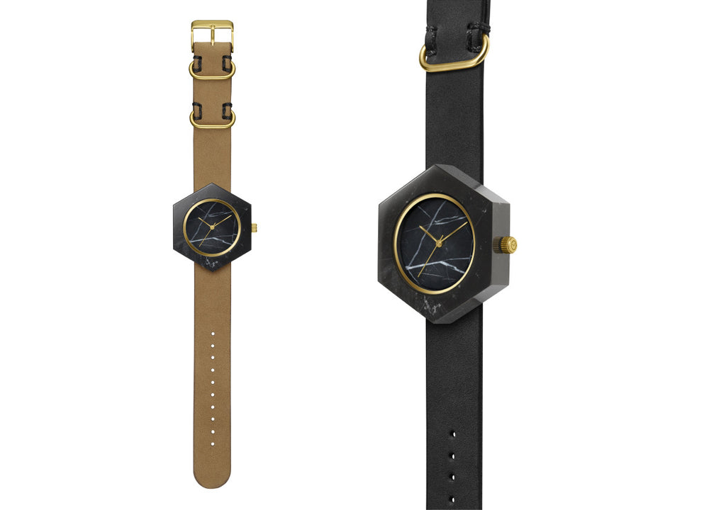 Solid black marble hexagon watch with gold finishing and premium leather strap