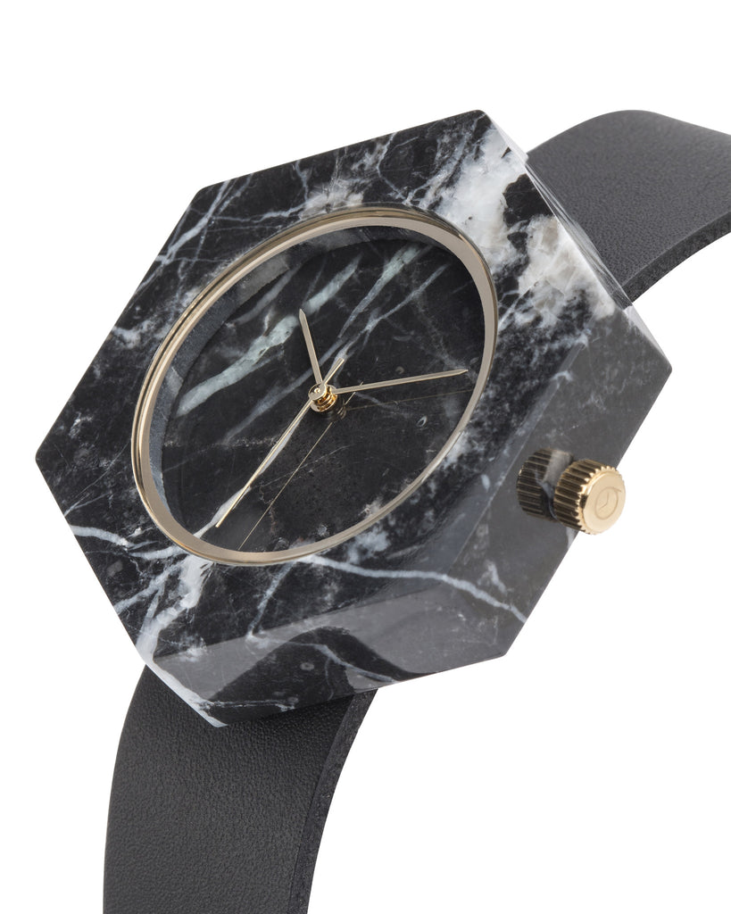 Unisex solid black marble hexagon watch with gold finishing and premium black leather strap