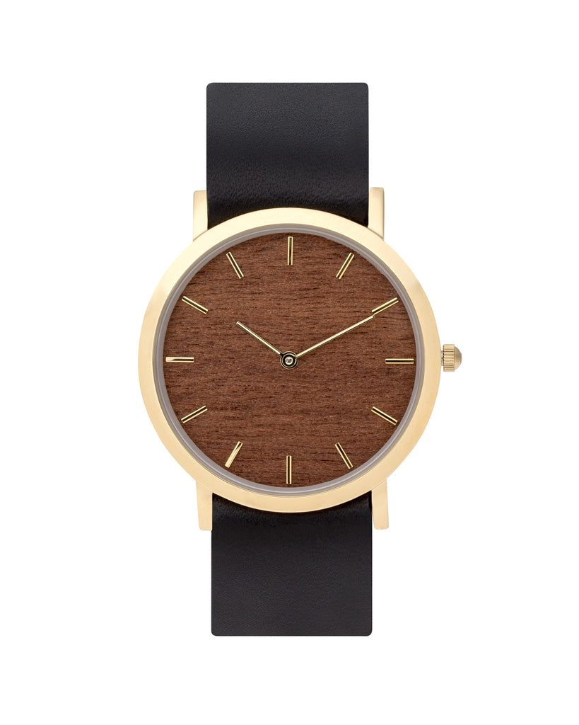 Unisex wristwatch with genuine makore wood dial face and premium black leather nato styled strap