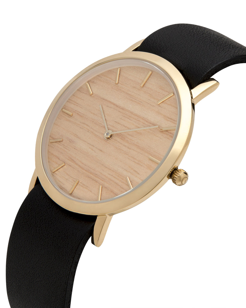 Minimal wristwatch with genuine silverheart wood dial face with premium black leather nato styled strap