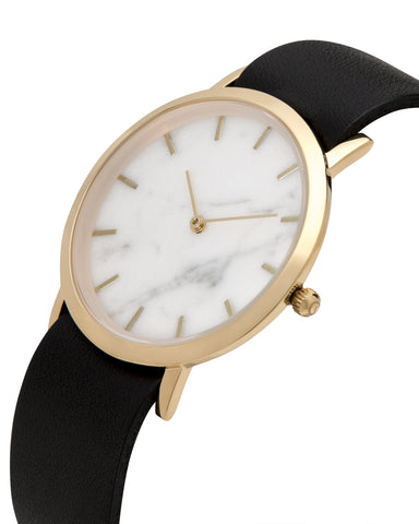 Unisex wristwatch with genuine white marble dial face and a premium black leather nato style strap