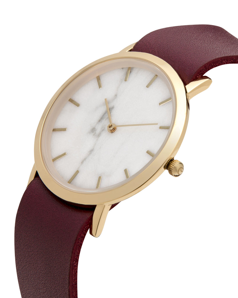 Unisex wristwatch with genuine white marble dial face and a premium cherry leather nato style strap