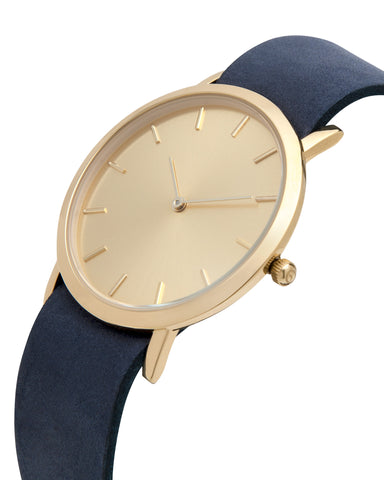 Unisex wristwatch with minimal gold dial face and premium leather nato style strap