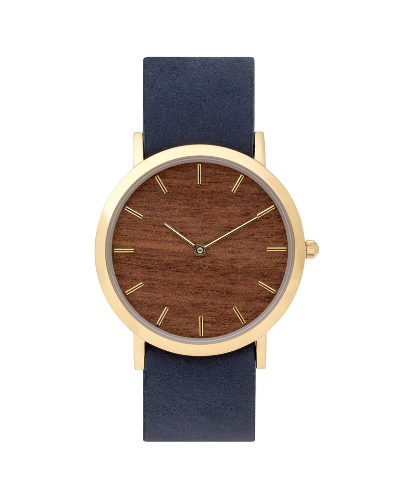Unisex wristwatch with genuine makore wood dial face and premium navy leather nato styled strap