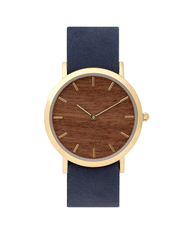 Unisex wristwatch with genuine makore wood dial face and premium cherry leather nato styled strap